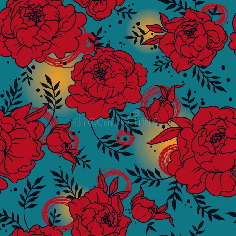 Naadloos patroon met mooie pioenen ter beschikking getrokken stijl vector illustratie