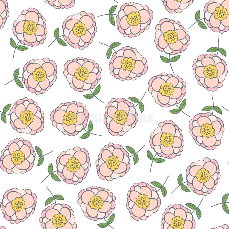 Naadloos patroon met mooie roze bloemen royalty-vrije illustratie