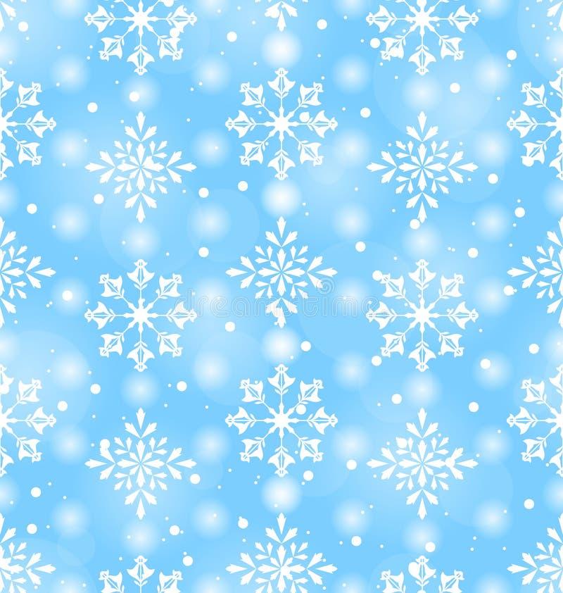 Naadloos Patroon met Mooie Sneeuwvlokken vector illustratie