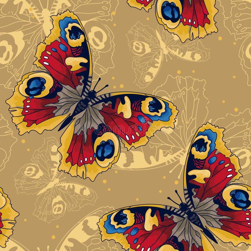 Naadloos patroon met mooie vlinders royalty-vrije stock afbeelding