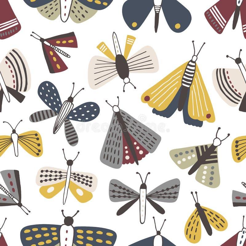 Naadloos patroon met motten op witte achtergrond Achtergrond met vlinders, vliegende insecten met gele en grijze vleugels vector illustratie