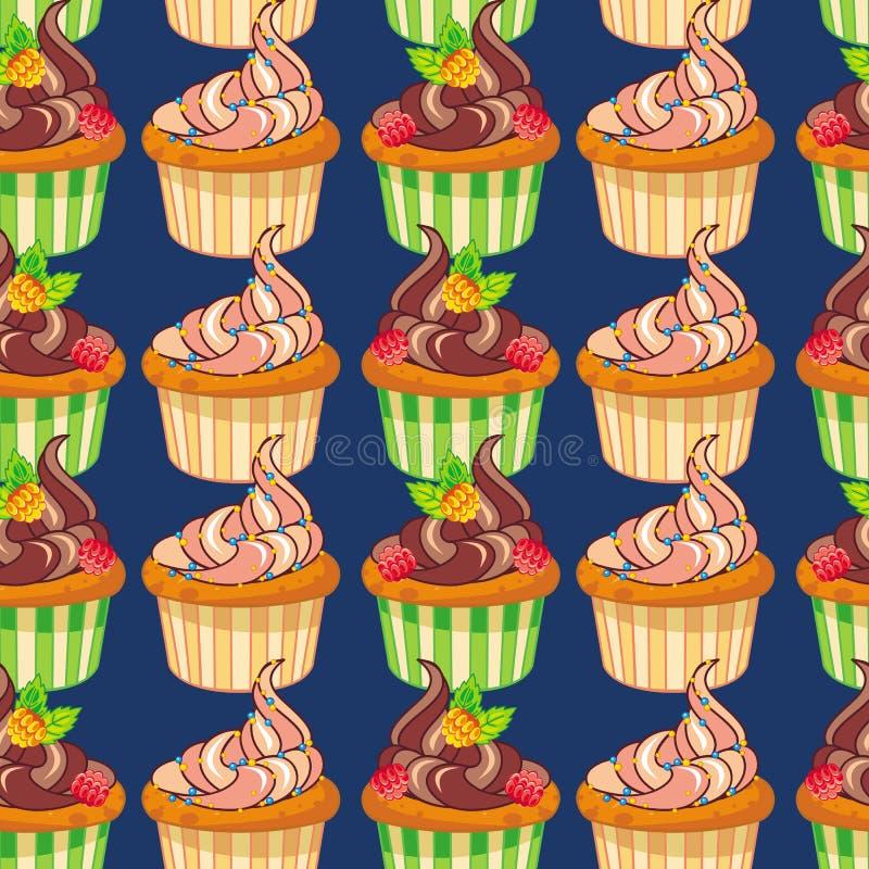 Naadloos patroon met muffins stock illustratie