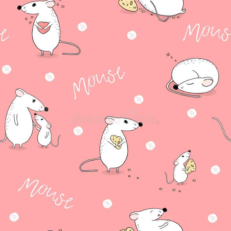 Naadloos patroon met muizen Grappige muis met hart, slaap, met kaas en cutie mamma met baby stock illustratie