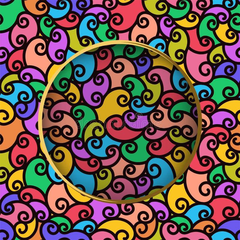Naadloos patroon met multi-colored gekrabbel Abstracte moderne gestreepte gekrulde achtergrond met cirkel in centrum stock illustratie