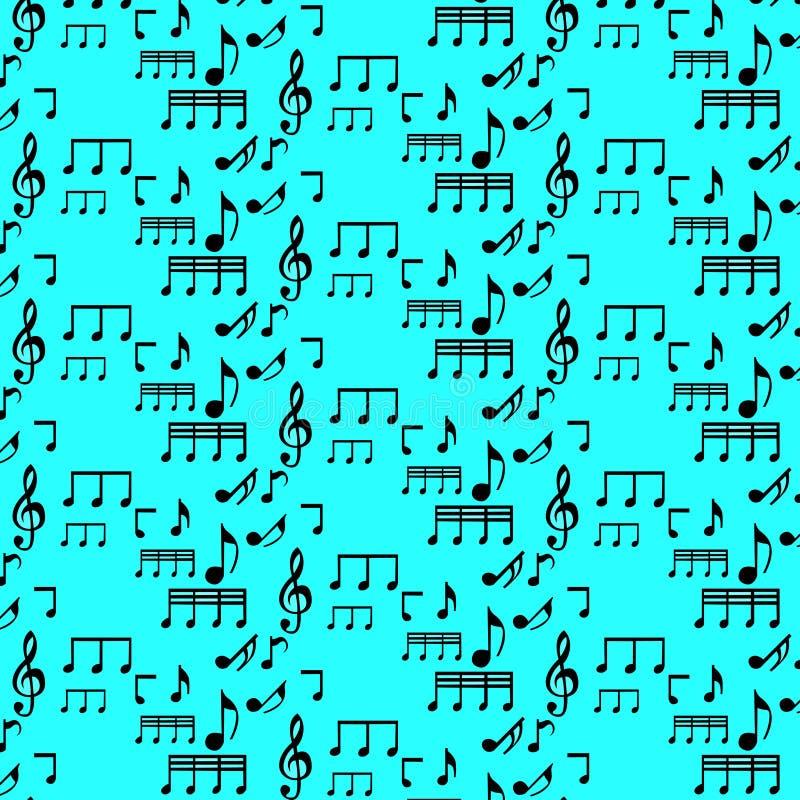 Naadloos patroon met muzieknota's stock foto's