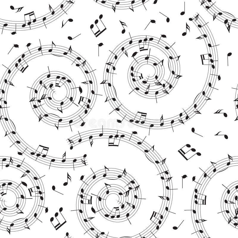 Naadloos patroon met muzieknota's - vectorachtergrond met spira vector illustratie