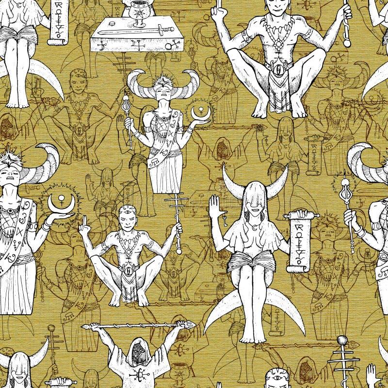Naadloos patroon met mysticus en geheime karakters en personen op textuurachtergrond stock illustratie