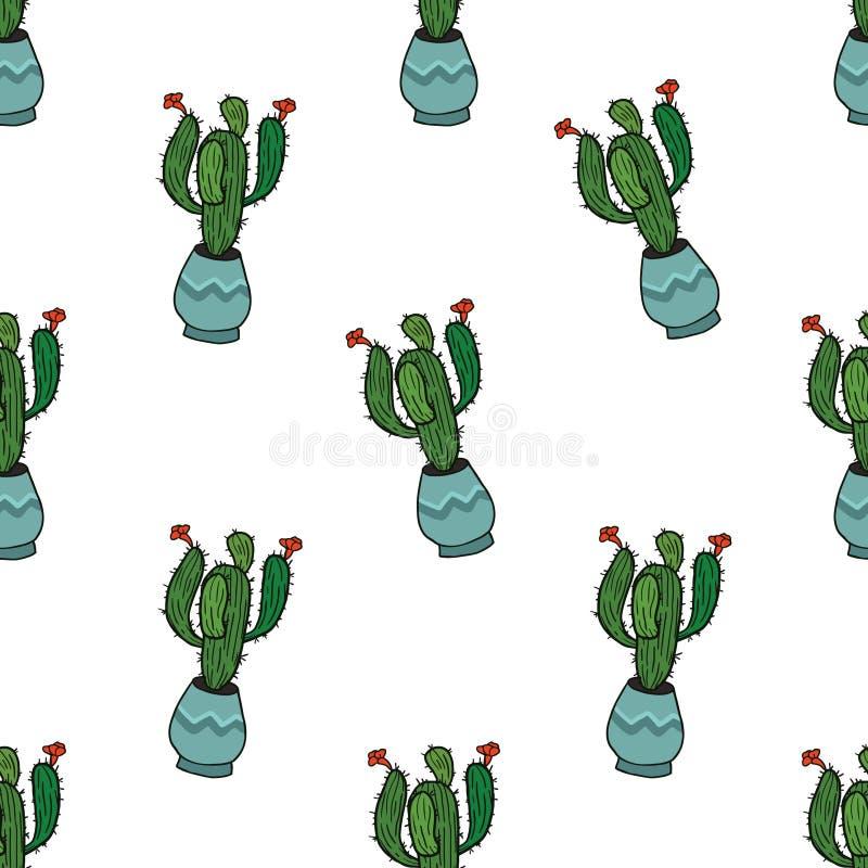 Naadloos patroon met naadloze cactus stock illustratie