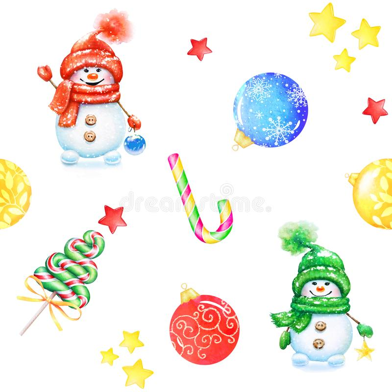 Naadloos patroon met Nieuwjaar decoratieve elementen stock illustratie