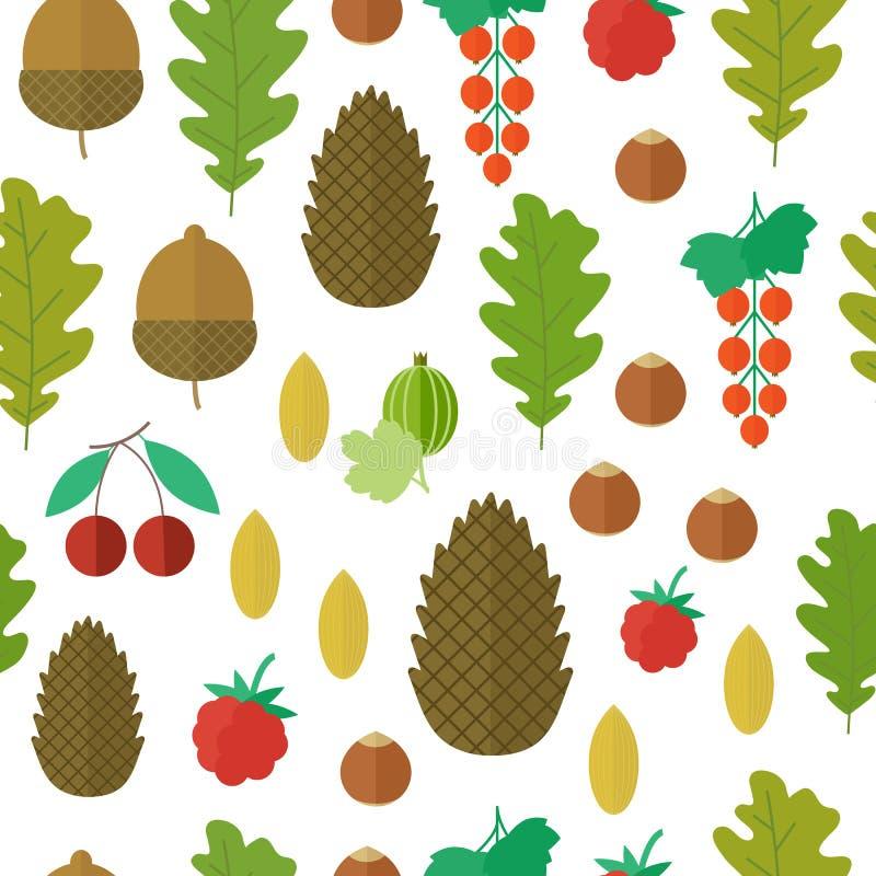 Naadloos patroon met noten en bessen Vector illustratie royalty-vrije illustratie