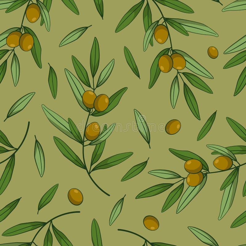 Naadloos patroon met olijven Vectortakken, bladeren en olijven op groene achtergrond royalty-vrije illustratie