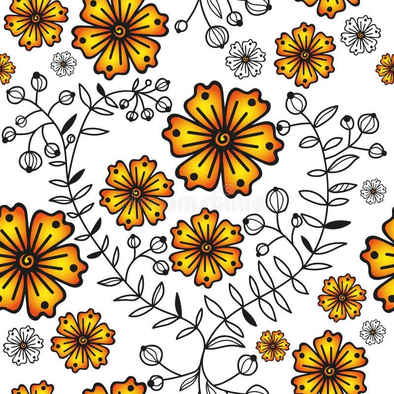 Naadloos patroon met oranje gradiëntbloemen en bladeren vector illustratie