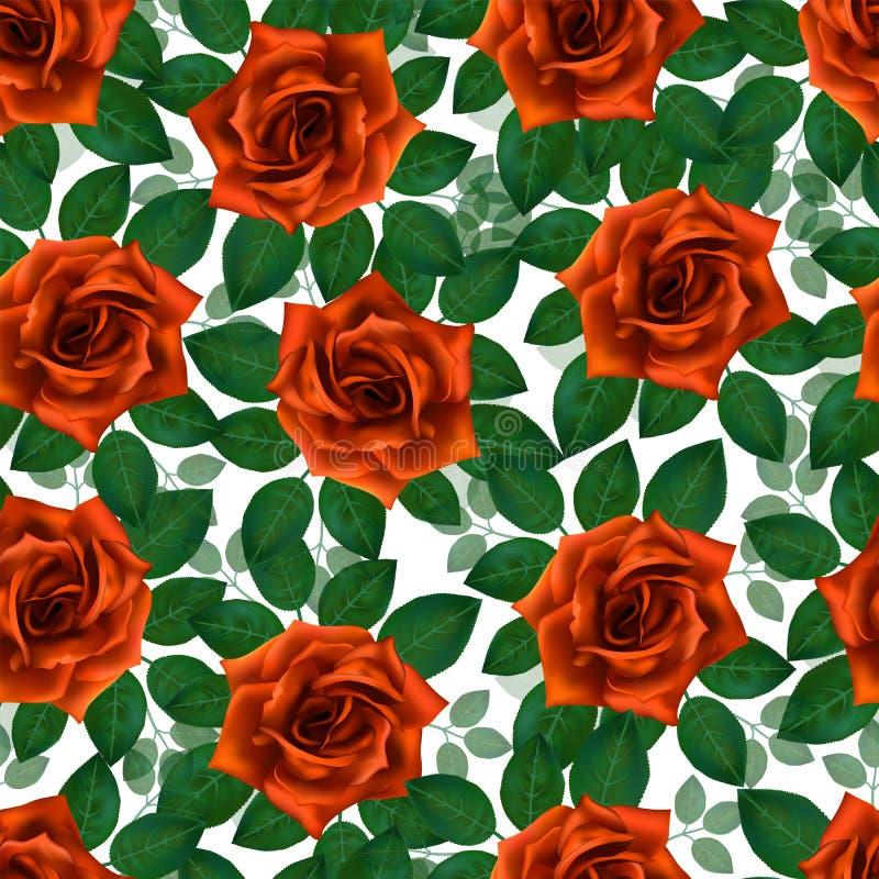 Naadloos patroon met oranje rozen Mooie realistische bloemen met bladeren Photorealixtic nam knop toe, schone hoog gedetailleerde stock illustratie
