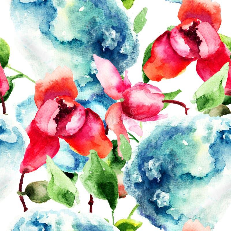 Naadloos patroon met Orchidee en Hydrangea hortensia blauwe bloemen vector illustratie