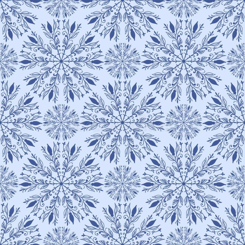 Naadloos patroon met ornament en gestileerde bloemen op een lichtblauwe achtergrond stock illustratie
