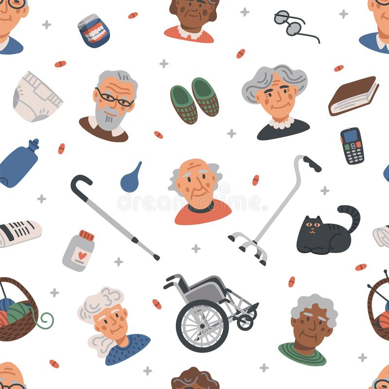 Naadloos patroon met Oude mensen Portretten van Bejaarde personen en verpleeghuispunten op witte achtergrond, medische behandelin royalty-vrije illustratie