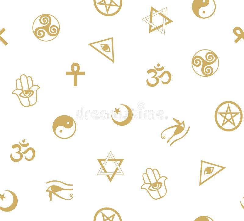 Naadloos patroon met oude sacral symbolen Egyptische, hermetische, godsdienstige en magische symbolen stock illustratie