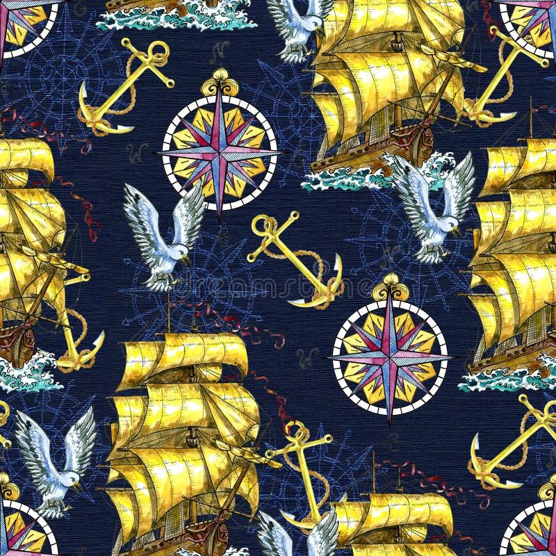 Naadloos patroon met oude zeilboot, anker, victorian kompas en meeuw stock illustratie