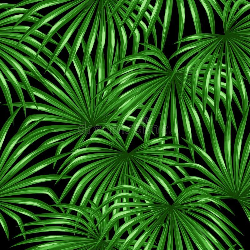 Naadloos patroon met palmenbladeren Decoratief beeld tropisch blad van palm Livistona Rotundifolia Gemaakte achtergrond royalty-vrije illustratie