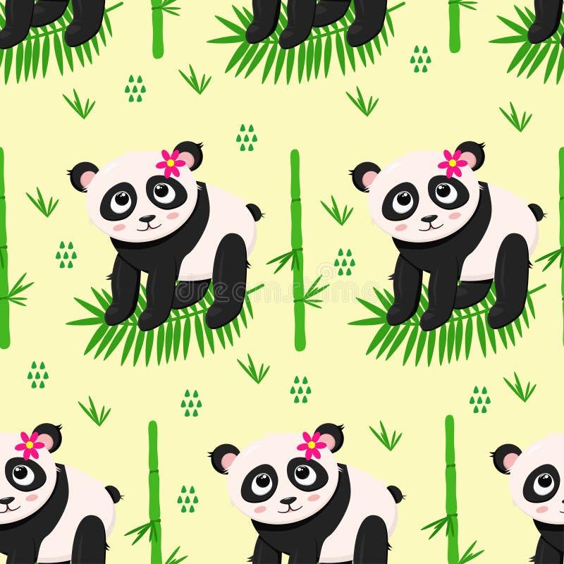 Naadloos patroon met panda en bloemen - vectorillustratie, eps royalty-vrije illustratie
