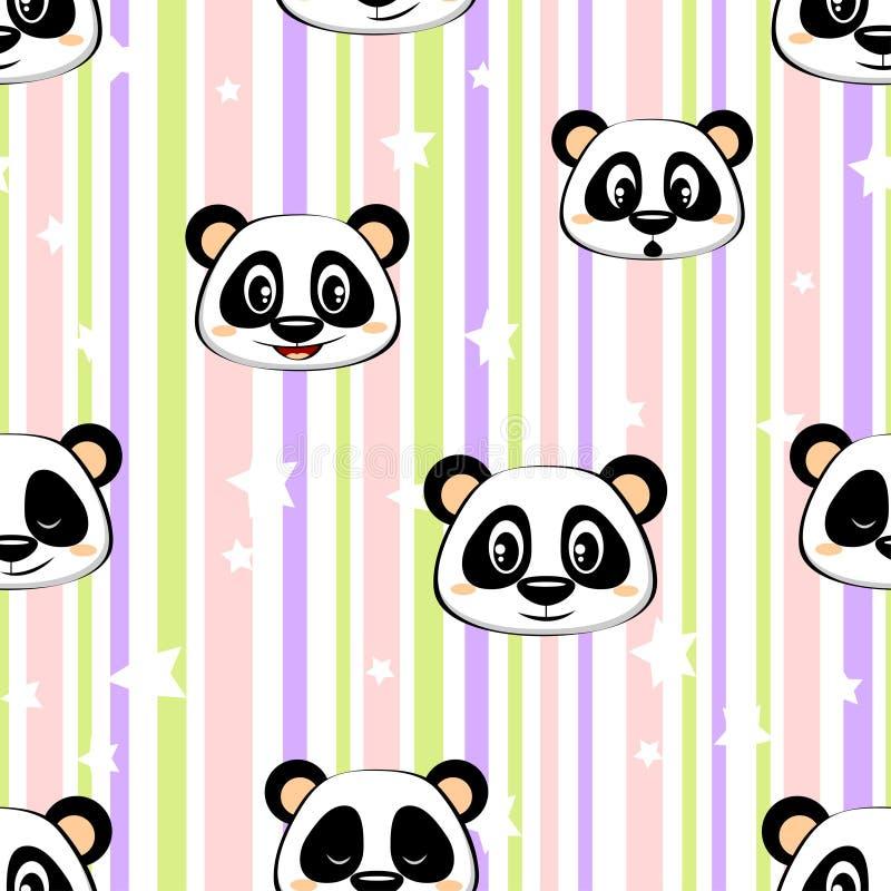 Naadloos patroon met panda en sterren vector illustratie