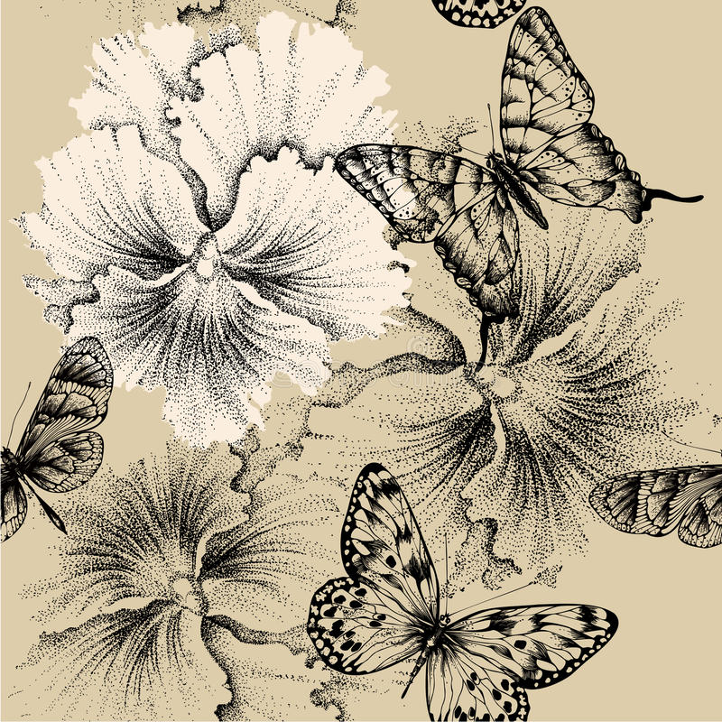 Naadloos patroon met pansies en vlinders. Vec stock illustratie