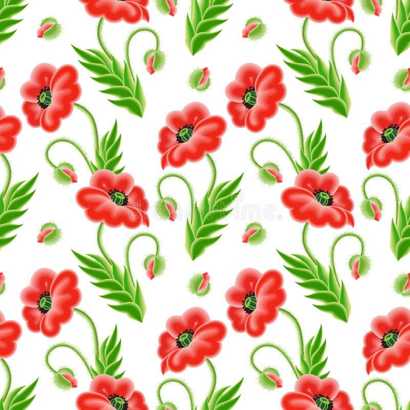 Naadloos patroon met papaverbloemen royalty-vrije illustratie