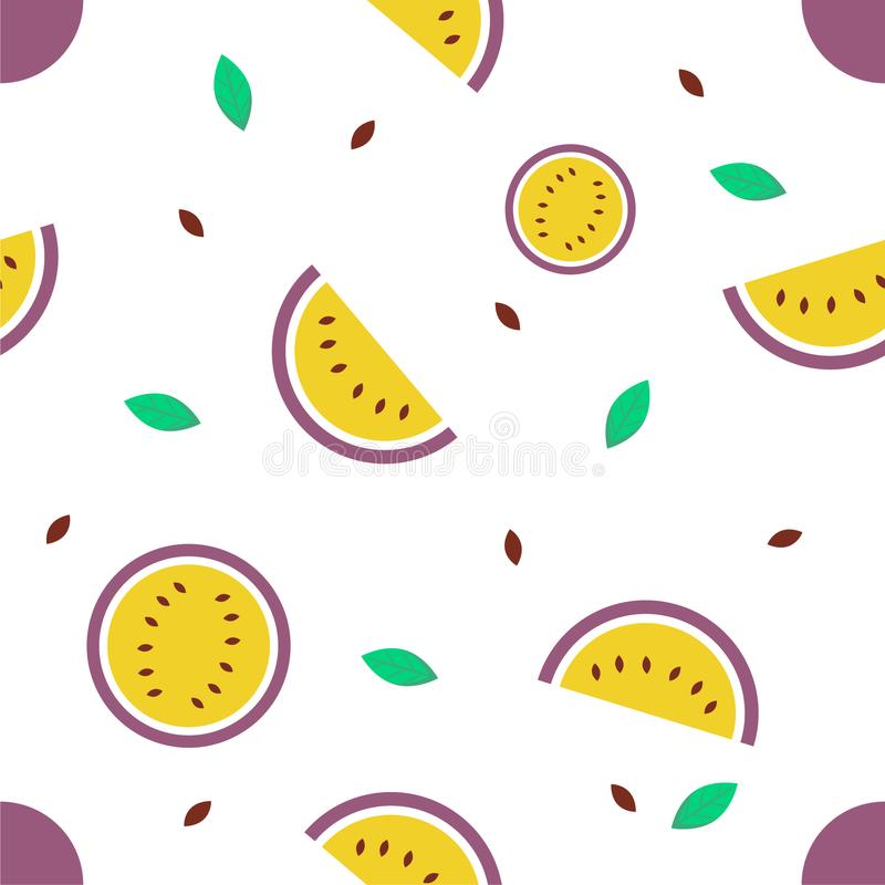 Naadloos patroon met passievrucht op witte achtergrond, vector royalty-vrije illustratie