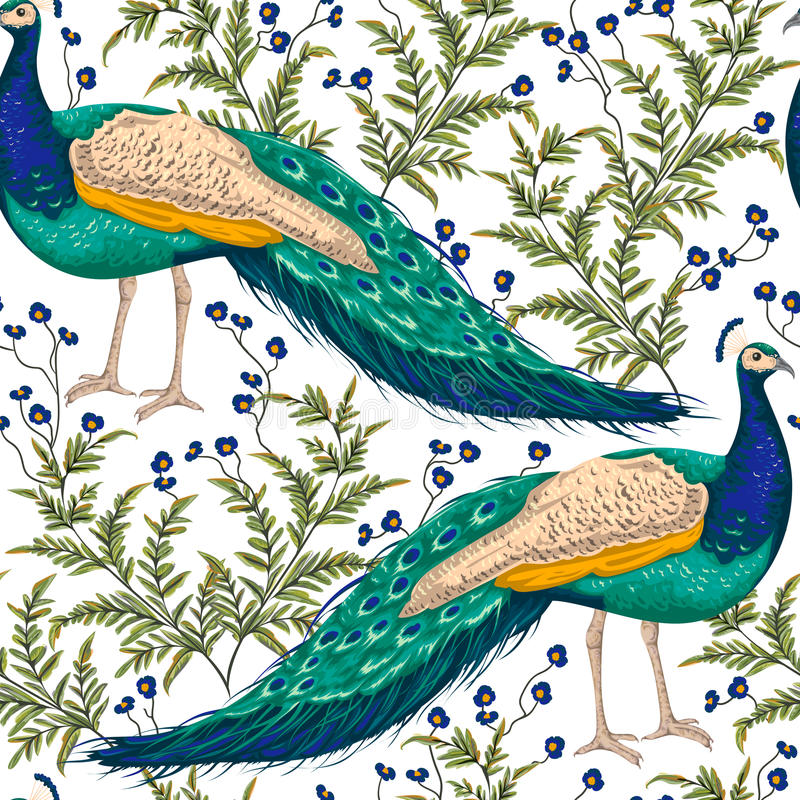 Naadloos patroon met pauw, bloemen en bladeren vector illustratie