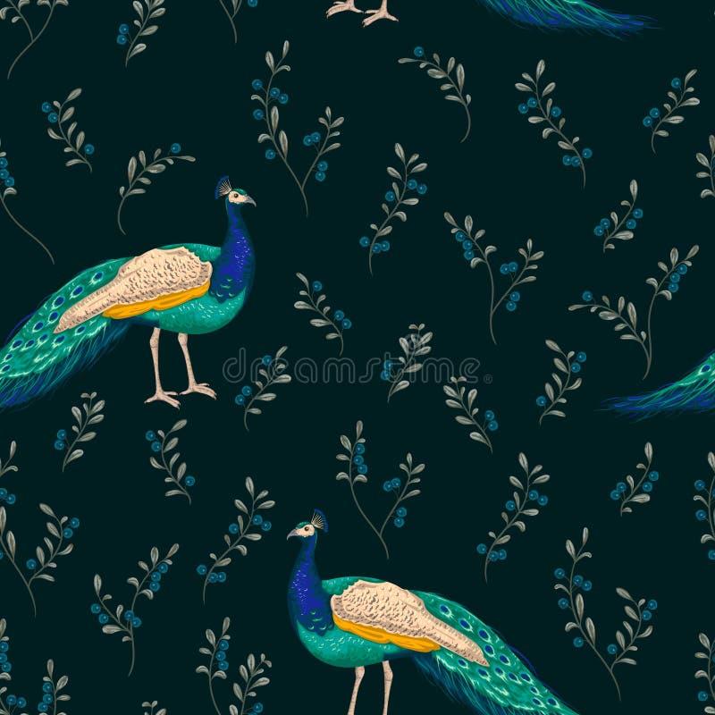 Naadloos patroon met pauw en bosbes stock illustratie