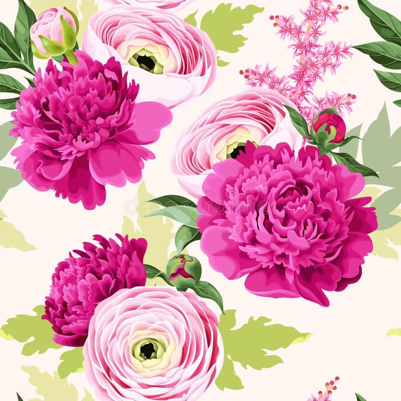 Naadloos patroon met pioen en ranunculus stock illustratie