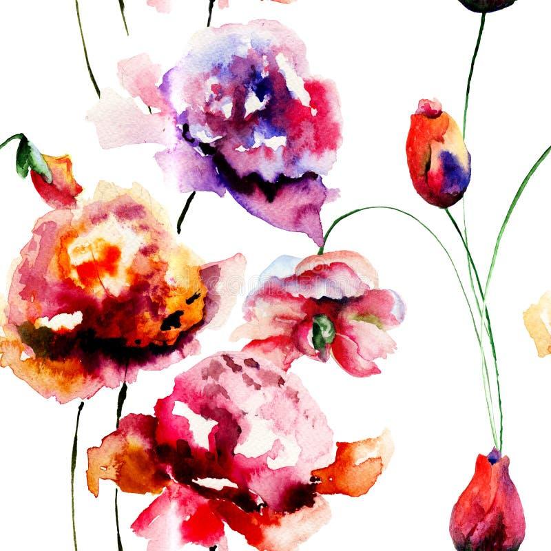 Naadloos patroon met Pioen en Tulpenbloemen royalty-vrije illustratie