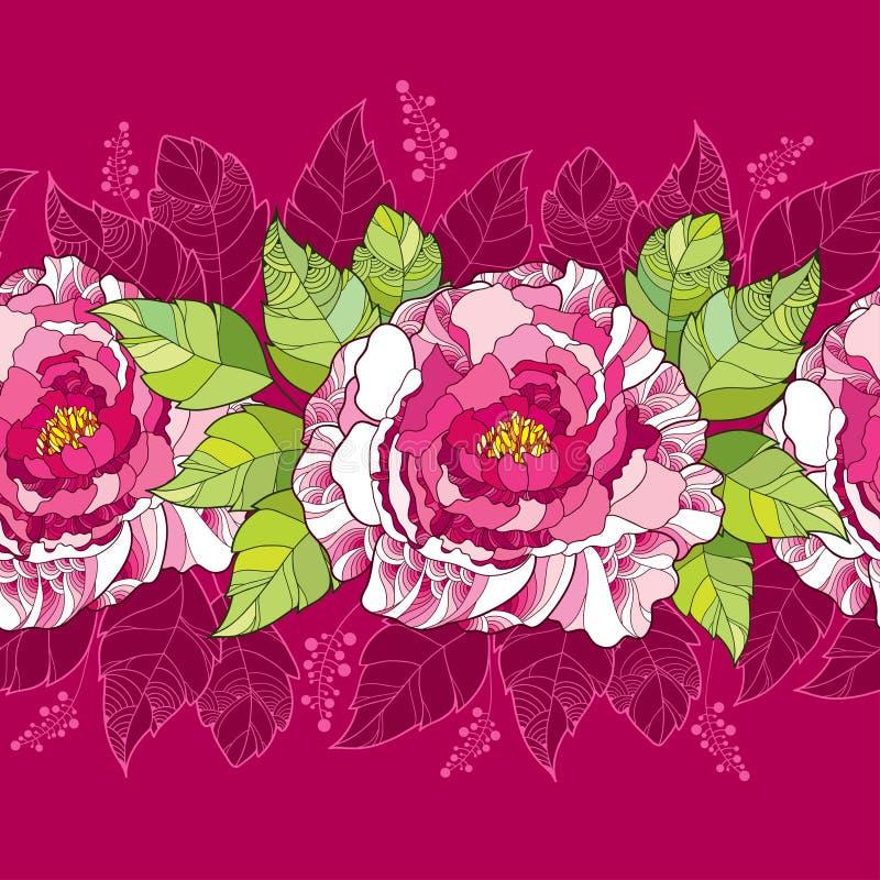 Naadloos patroon met pioenbloem in roze en groene bladeren op de donkere achtergrond stock illustratie