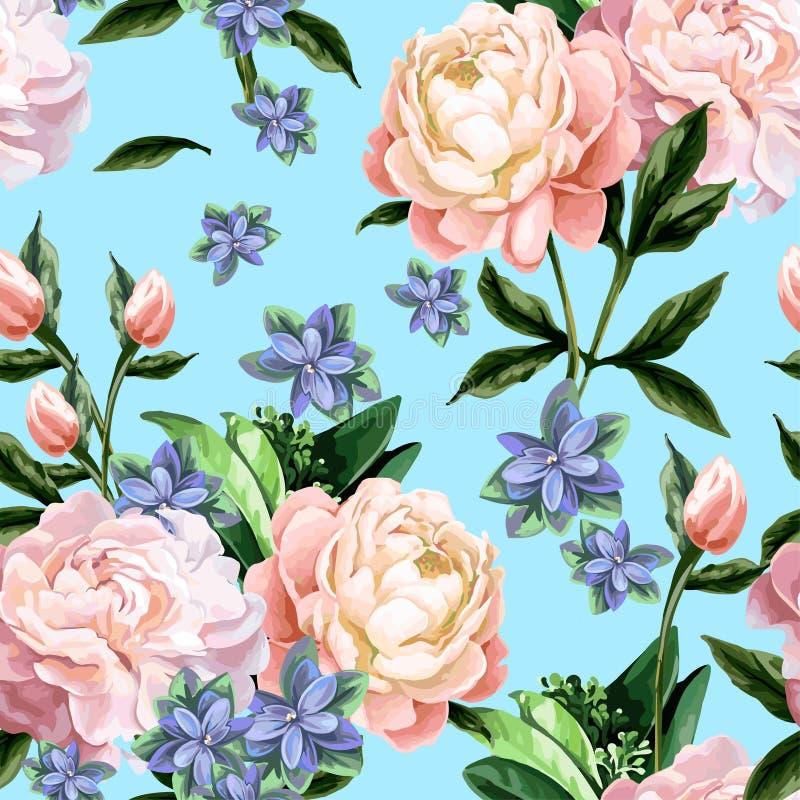 Naadloos patroon met pioenen stock illustratie