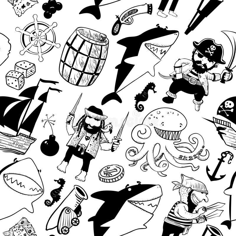 Naadloos patroon met piraten en haaien stock illustratie