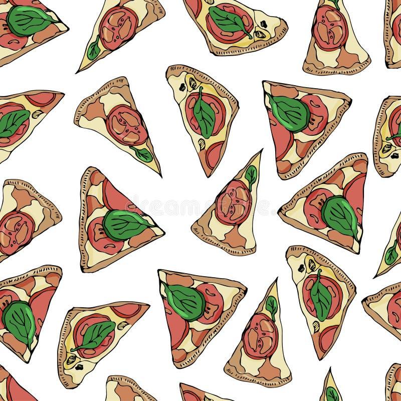 Naadloos patroon met plakken van pizza op witte achtergrond Hand getrokken inkt en gekleurde schets stock illustratie
