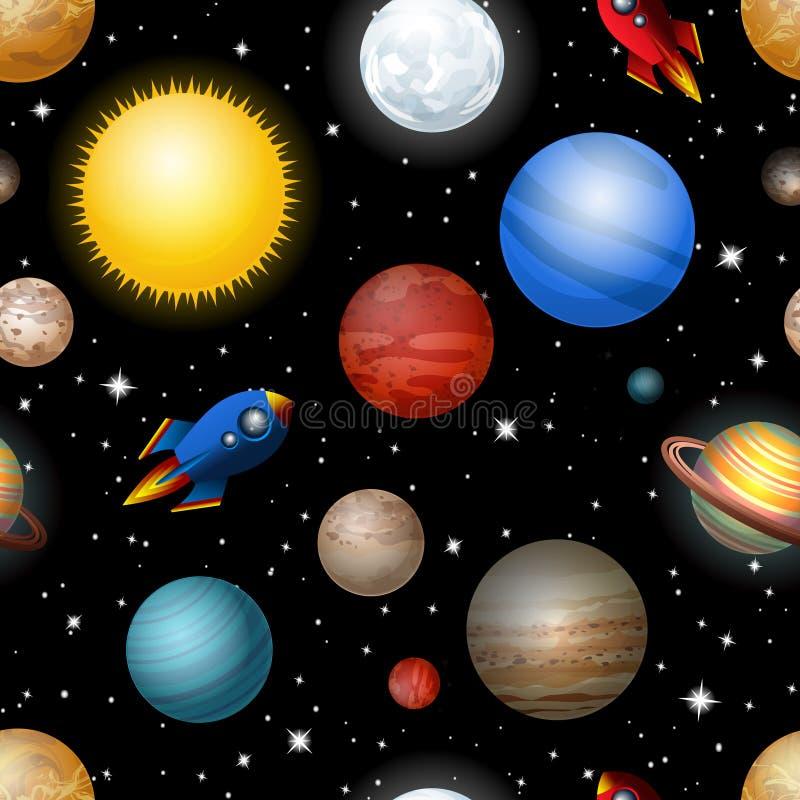 Naadloos patroon met planeten en raketten stock illustratie