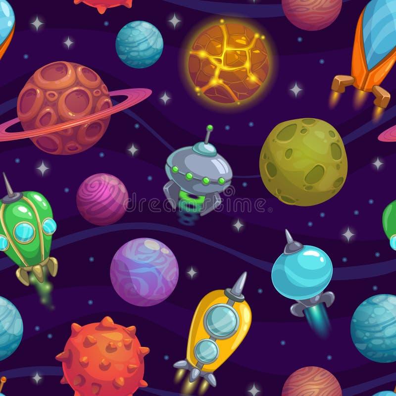 Naadloos patroon met planeten en ruimteschepen stock illustratie