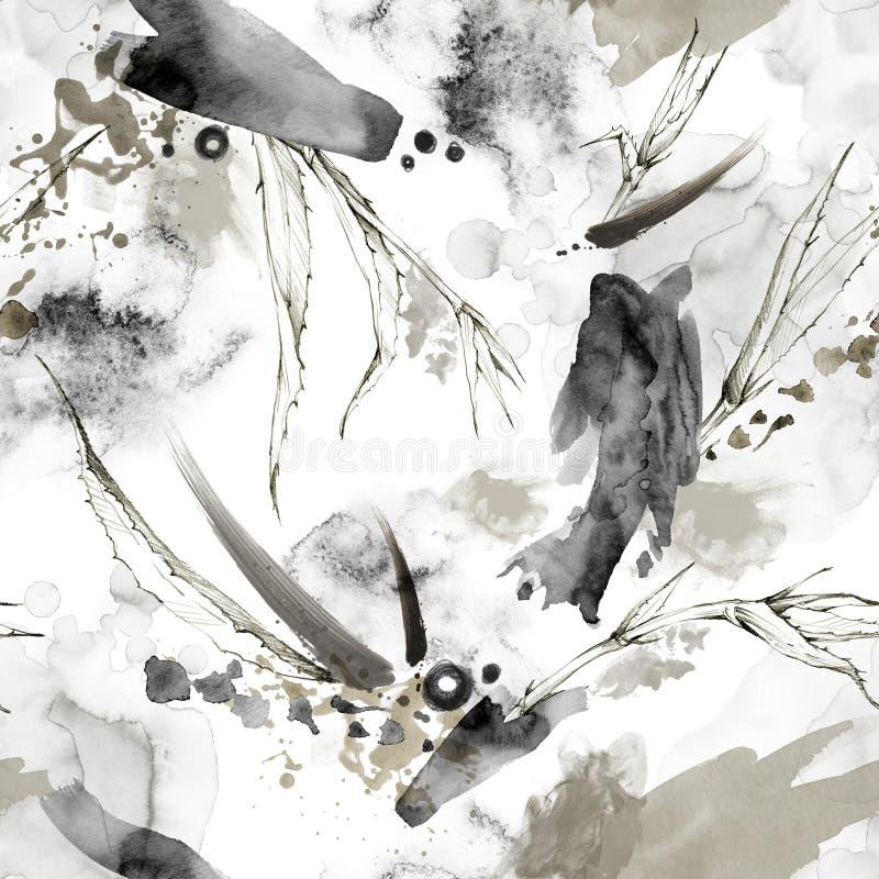 Naadloos patroon met plonsen, vlekken en tropische bladeren Abstracte grafische illustratie Moderne textuur in beige vector illustratie