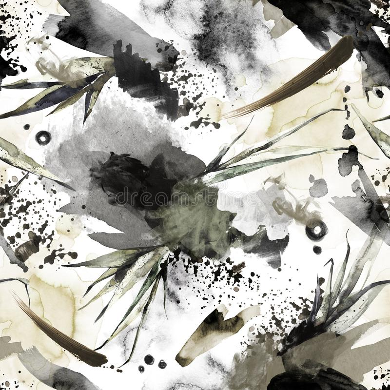 Naadloos patroon met plonsen, vlekken en tropische bladeren Abstracte waterverfillustratie Moderne textuur in brons royalty-vrije illustratie