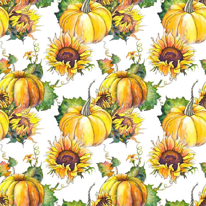 Naadloos patroon met pompoenen, zonnebloemen en bladeren vector illustratie