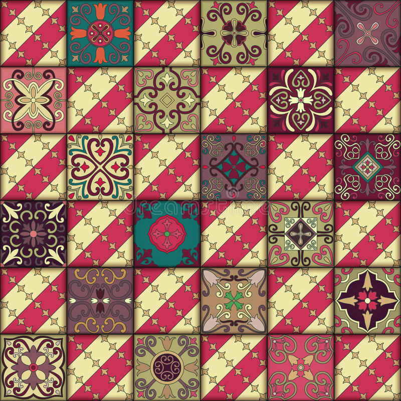 Naadloos patroon met Portugese tegels in talavera stijl Azulejo, Marokkaanse, Mexicaanse ornamenten stock illustratie