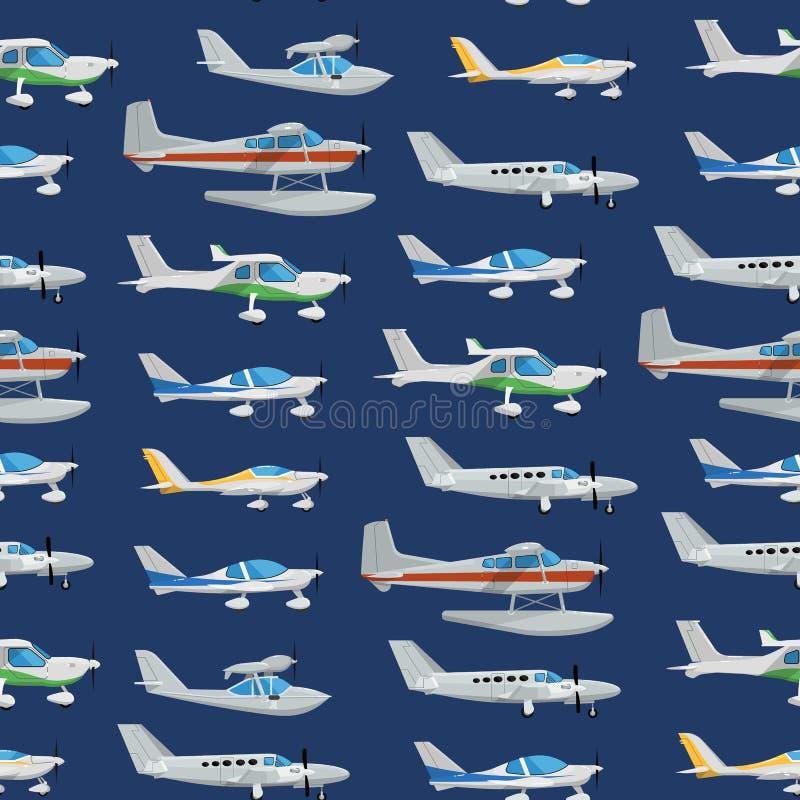 Naadloos patroon met propellervliegtuigen vector illustratie