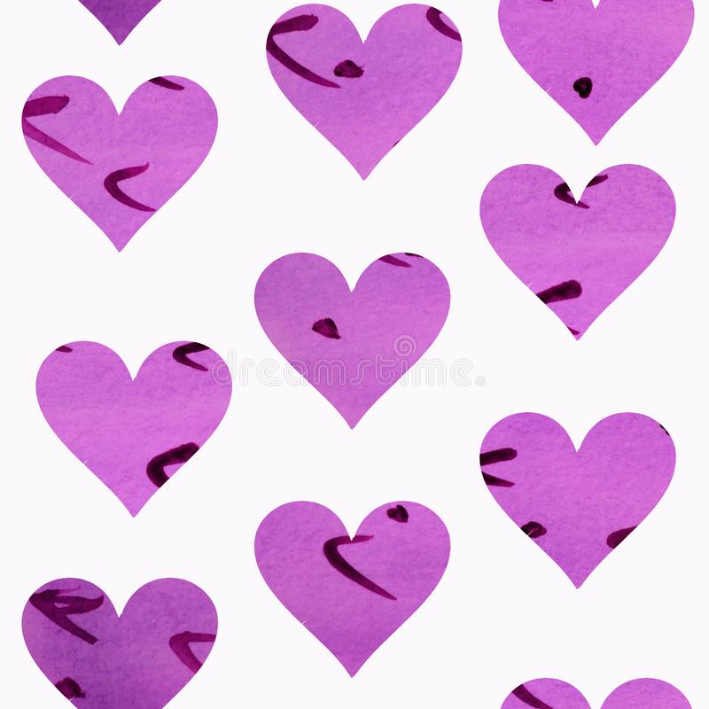 Naadloos patroon met purpere harten op een witte achtergrond groot voor textielontwerp, uitnodigingen, kaarten vector illustratie