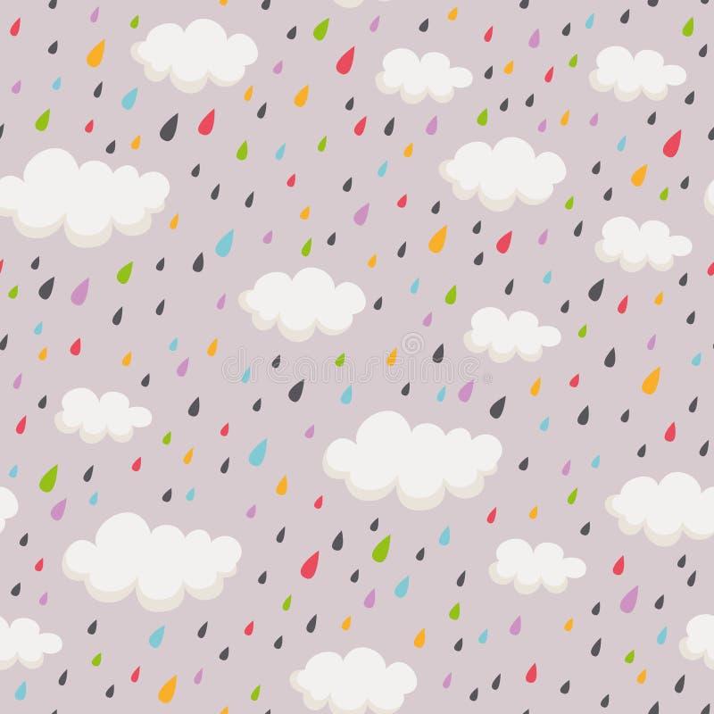 Naadloos patroon met rainclouds en regendruppels royalty-vrije illustratie