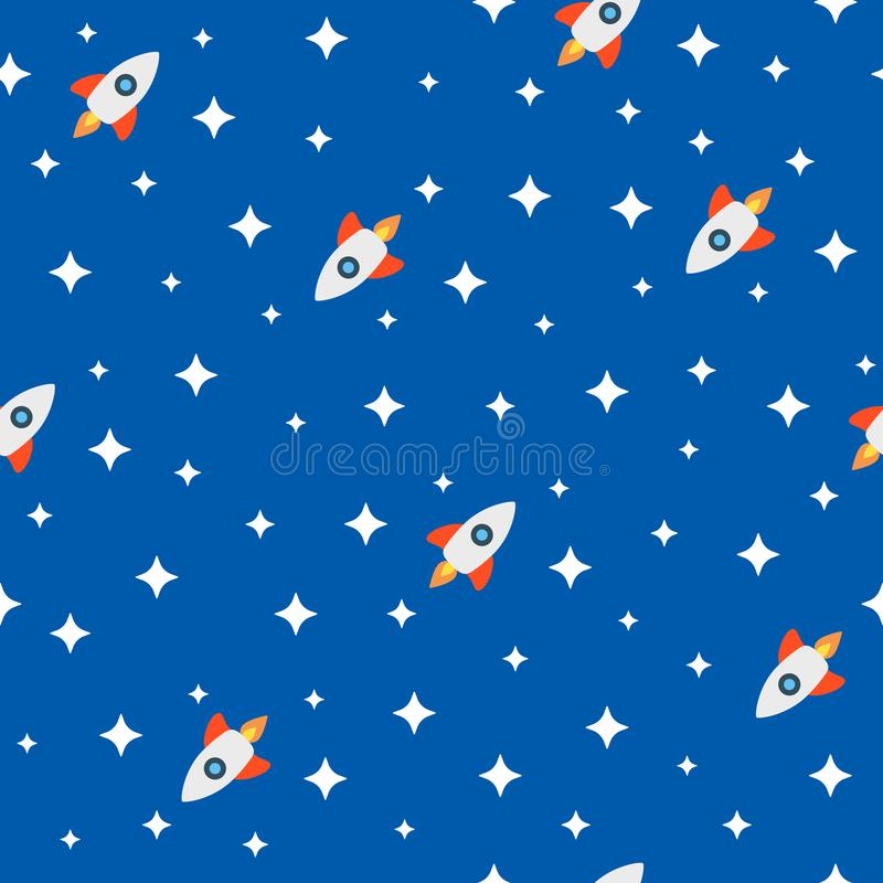 Naadloos patroon met raketten onder de sterren in ruimte Beeldverhaal kinderachtige druk Leuke vectorillustratie stock illustratie
