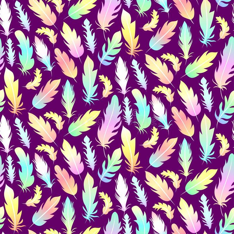 Naadloos patroon met regenboogveren op een donkere achtergrond royalty-vrije illustratie