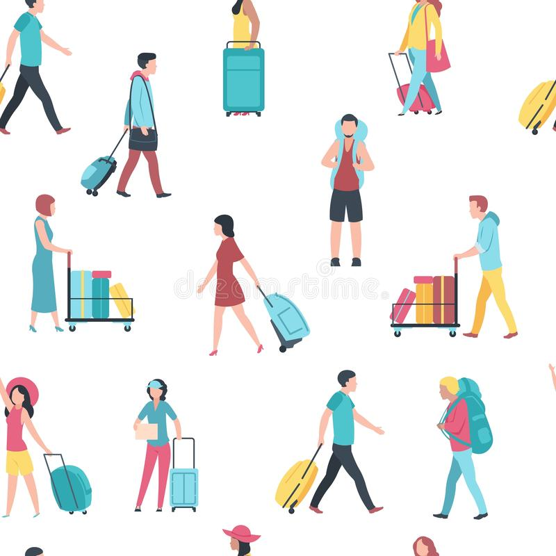 Naadloos patroon met reismensen De passagiers van de de bagagemenigte van de luchthaventoerist De vectormensen van de illustratie stock illustratie