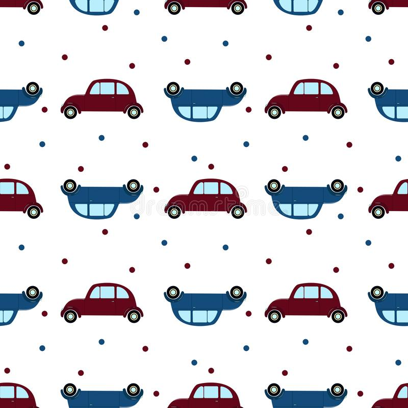 Naadloos patroon met retro auto's en stip Vlakke desidn stock illustratie