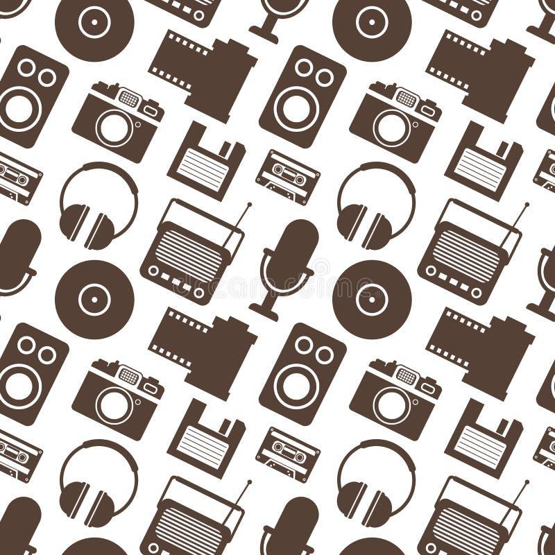 Naadloos Patroon met Retro Media technologie royalty-vrije illustratie